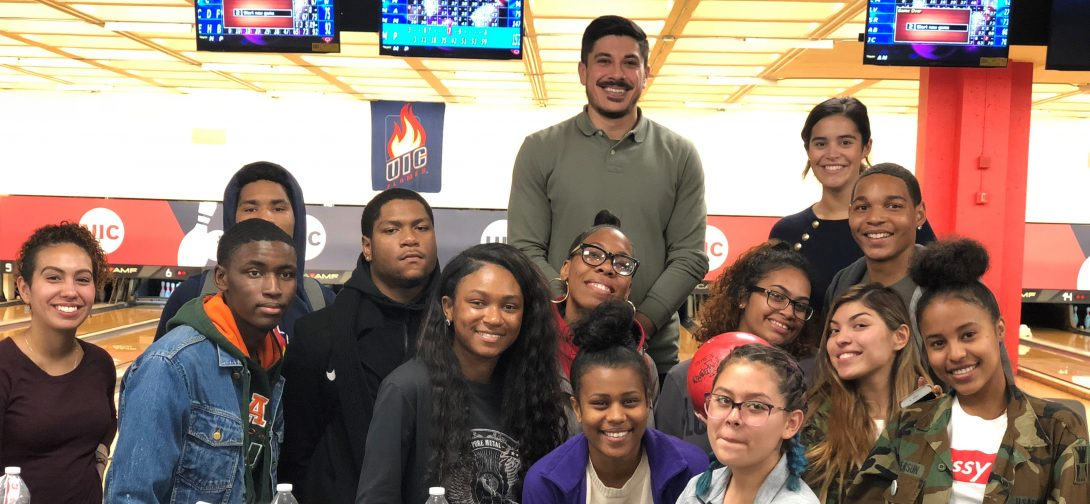Students at a bowling event