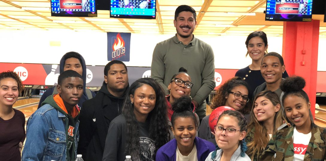 group of students in a bowling alley